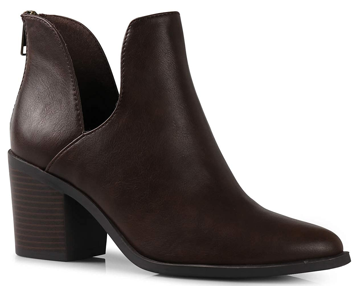 Brown LUSTHAVE Women's Duney Cut Out Chunky Stacked High Heel Pointy Toe Ankle Bootie Boots