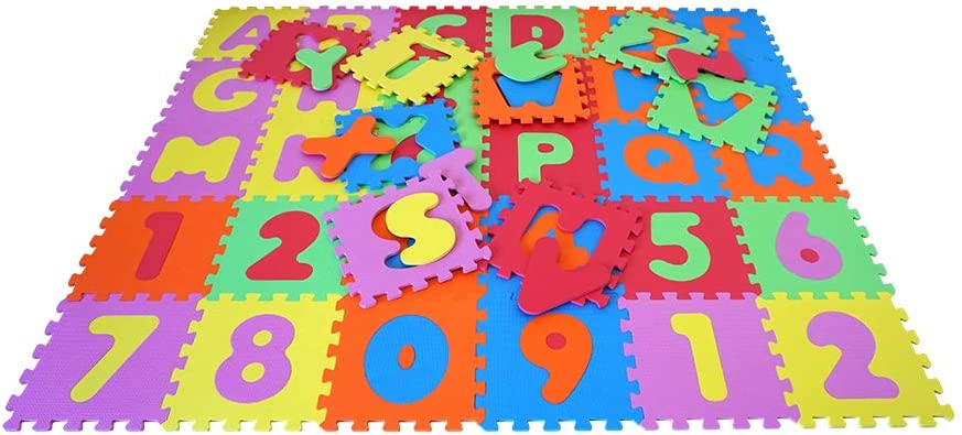 Knorrtoys 21004 knoortoys Puzzle Mat-Alphabet with Numbers 0-9 Multi Color