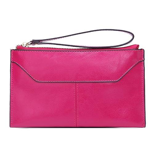 Genuine Leather Missmay para mujer bolso monedero cartera bolso bandolera Wristlet Clutch, color, talla talla única: Amazon.es: Zapatos y complementos