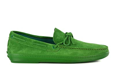 Tods Mens Green Suede Green Sole Front Tie Moccasins Loafers
