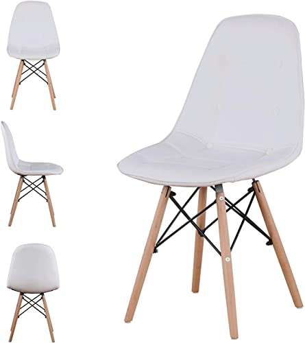Leather Dining Back Chairs Set of 4 PU Upholstered Modern Style Mid-Century Tufted Nailhead Back Wood Legs Armless Side Chair
