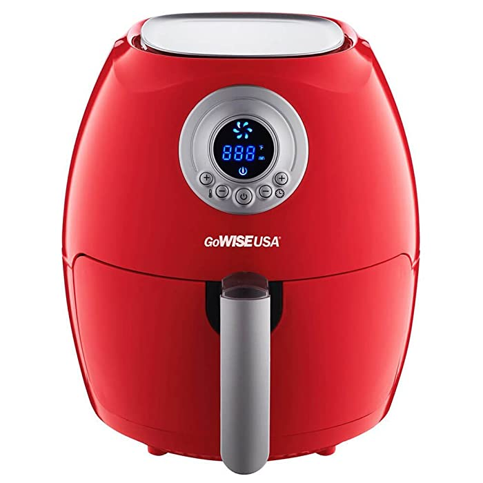 GoWISE USA 2.75-Quart Digital Air Fryer + 50 Recipes for your Air Fryer Book (Chili Red)