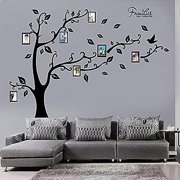 decalmile Grande Famiglia Albero Adesivi da Parete Cornici Portafoto  Stickers Murali Camera da Letto Soggiorno Decorazioni Parete Nero