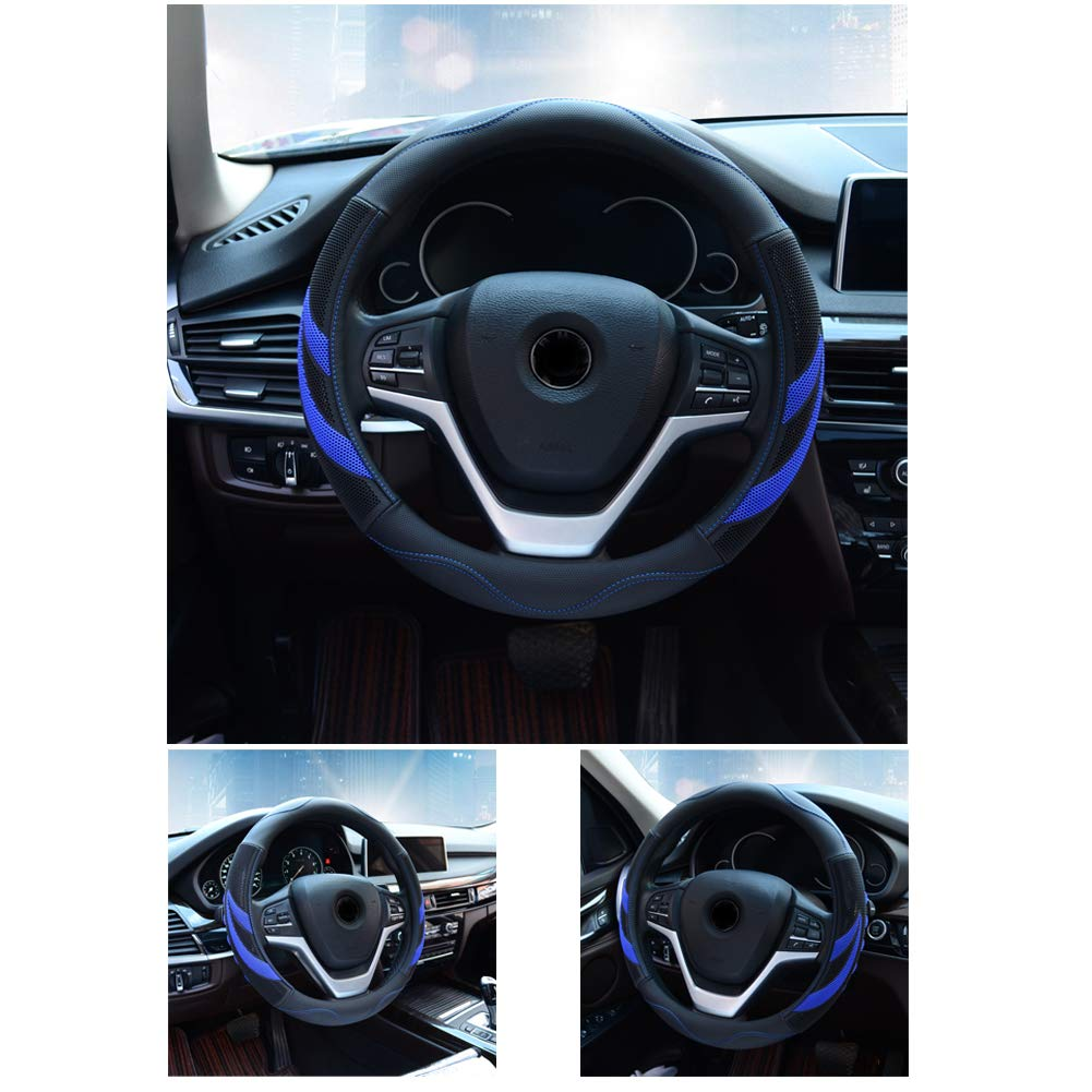 White Alusbell Microfiber Leather Steering Wheel Cover Breathable Auto Car Steering Wheel Cover for Men Universal 15 Inches