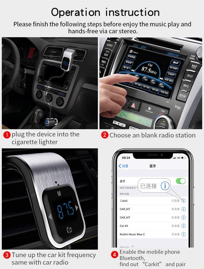 Trasmettitore FM Bluetooth FLY5D Quick Charge 3.0 con doppia porta USB Wireless FM Radio Caricatore per auto Chiama la Connessione,Navigazione Vocale