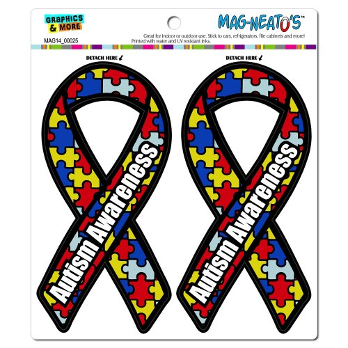 Graphics and More Autism Awareness Support Ribbon Automotive Car Refrigerator Locker Vinyl Magnet Set