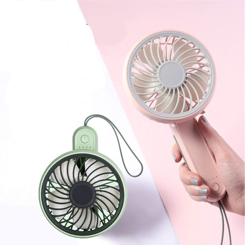 Color : Green Mini Portable Cooling Fan USB Folding Small Fan Rotatable Desktop Fan Mini Rechargeable Handheld Portable Fan