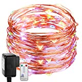 DecorNova 907002-N Fairy Plug in, Firefly Copper Wire String Light with 3V Adapter, 39.4 Feet, Multicolor
