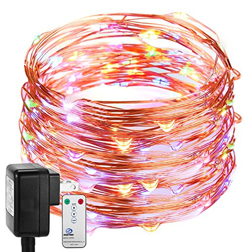 Fairy Lights Plug In, DecorNova Firefly Copper Wire String Lights with 3V Adapter & Remote Control for Christmas Tree Party Wedding Bedroom Decorations, 39.4 Feet 120 LED, Multi Color (Electric Christmas Tree Lights)