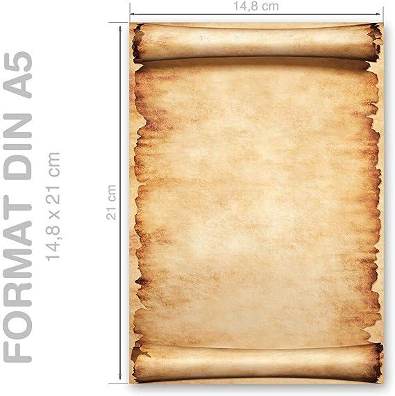 Hojas estampadas VINTAGE 20 hojas DIN A4 Papel de carta