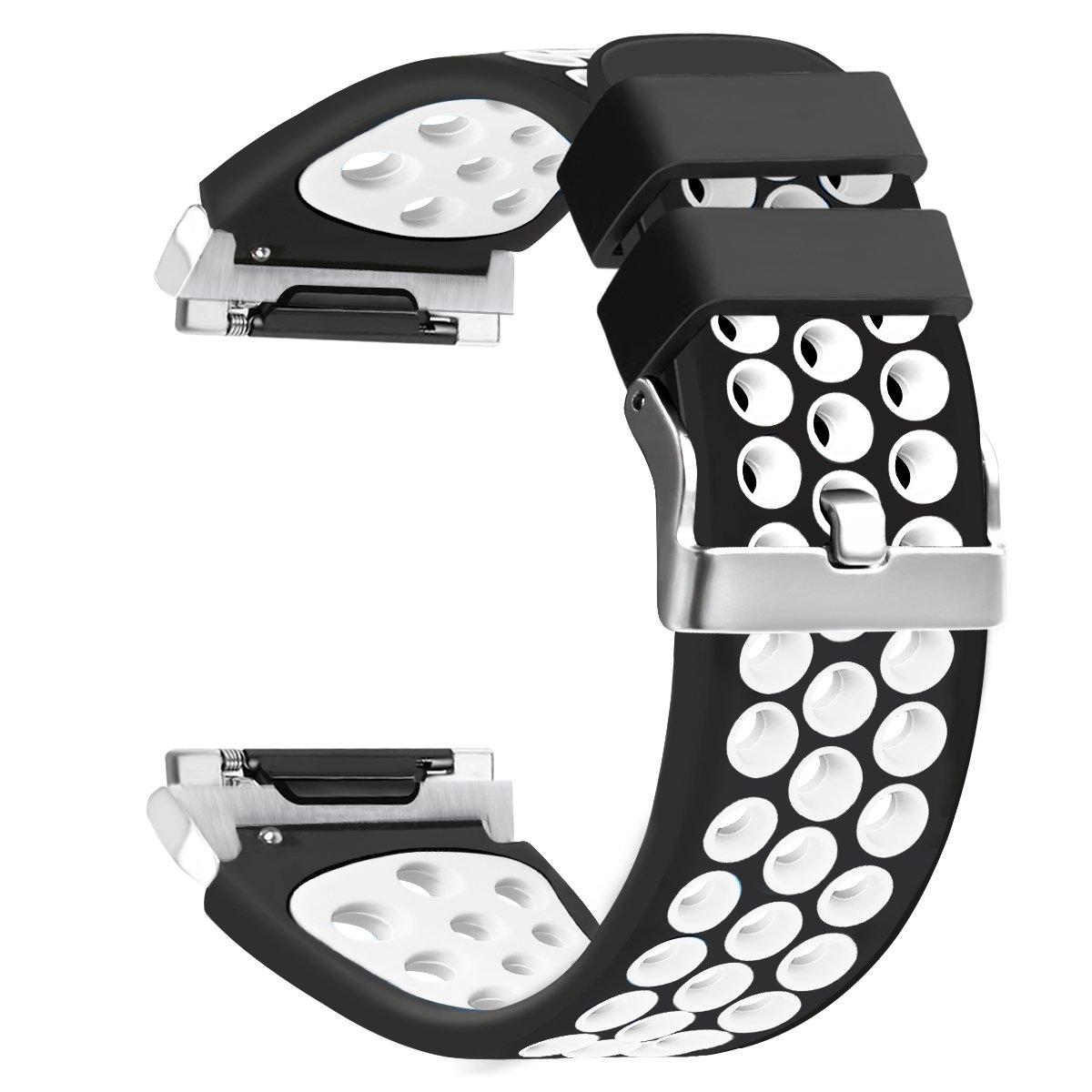 For Fitbit Ionicスポーツバンド、Nahai Perforated調整可能ソフトシリコン交換用ストラップfor Fitbit Ionic Smart Watch、Large、スモール ブラック/ホワイト ブラック/ホワイト B076DQCSXL