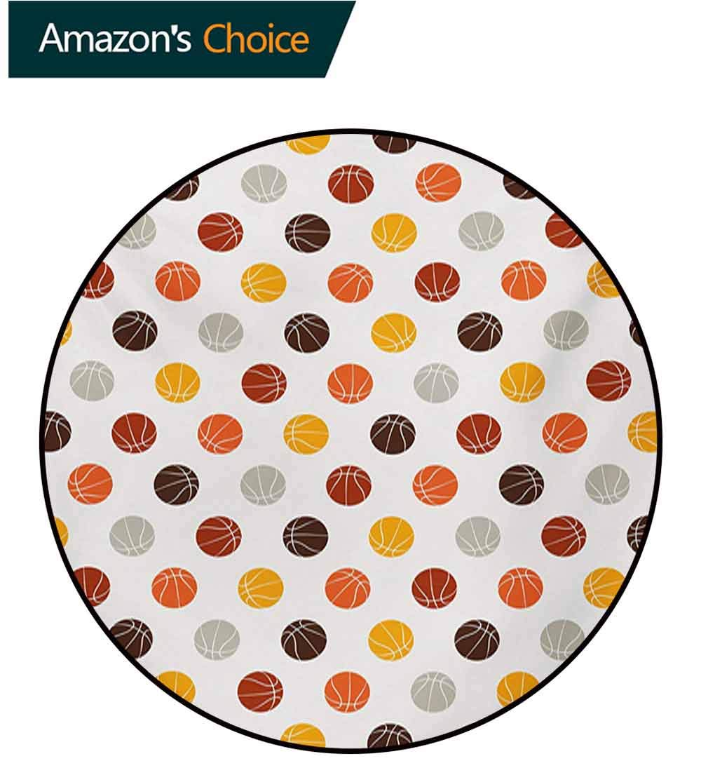 RUGSMAT Basketball Art Deco Pattern Non-Slip Round Area Rug,Ball Pattern in Earthen Tones Competition Sports Professional League Game Player Foam Mat Bedroom Decor Bedroom,Diameter-63 Inch