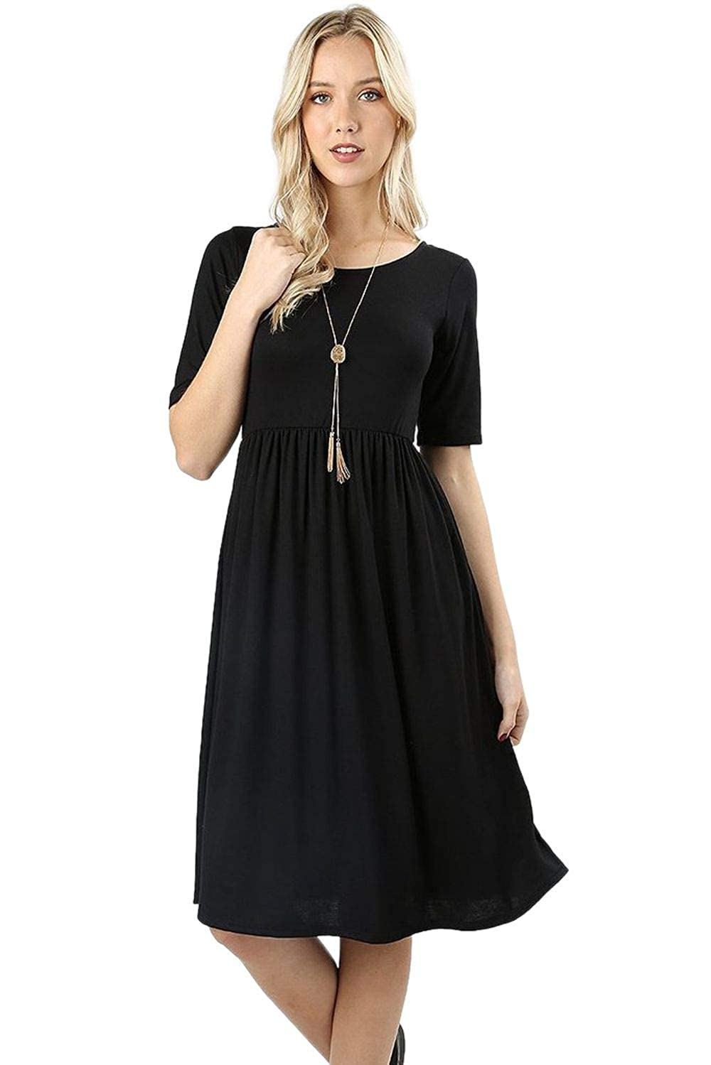 Black Women's Shirring Waist Dress Half Sleeve Casual TShirt Round Neck with Pockets