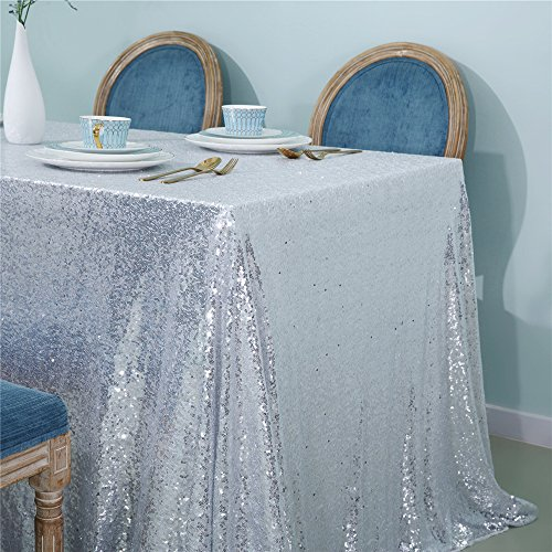 Zdada Sparkly Tablecloth Silver Sequin Tablecloth Sequin Fabric Tablecloth for Ceremony/Party/Halloween-50 x 50 for $<!--$12.91-->
