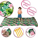 #10: Sand Free Large Beach Blanket Hot Tropical Design-Portable Picnic Mat-Great Outdoor Blanket For Camping Festivals-Lightweight Portable Summer Beach Blanket With Sand Anchor And 4 Corner Pocket