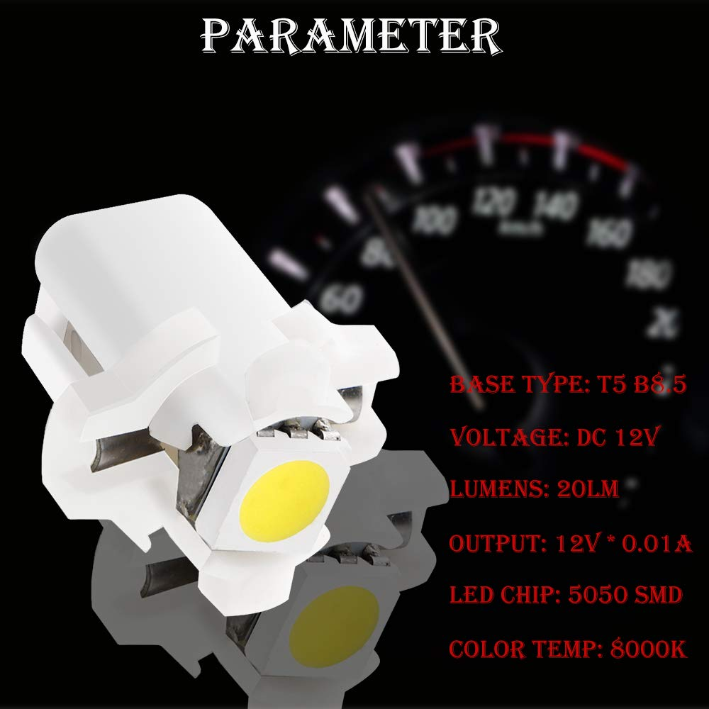 GLL 10pcs White T5 LED Bulbs B8.5 LED Dashboard Bulbs 1-5050-SMD for Car Interior Speedometer Dashboard Instrument Gauge Cluster Indicator Light Panel Dash Lamp 2-Year Warranty