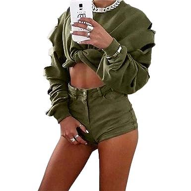 MEIbax Casual Mujer Mujeres Lindas Mujeres Impresas Manga Larga Hueco Agujero Corto suéter Camisa Blusa Tops: Amazon.es: Ropa y accesorios