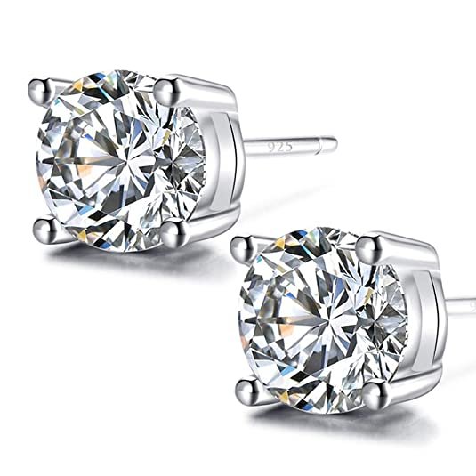 2. 925 Sterling Silver and Cubic Zirconia Stud Earrings