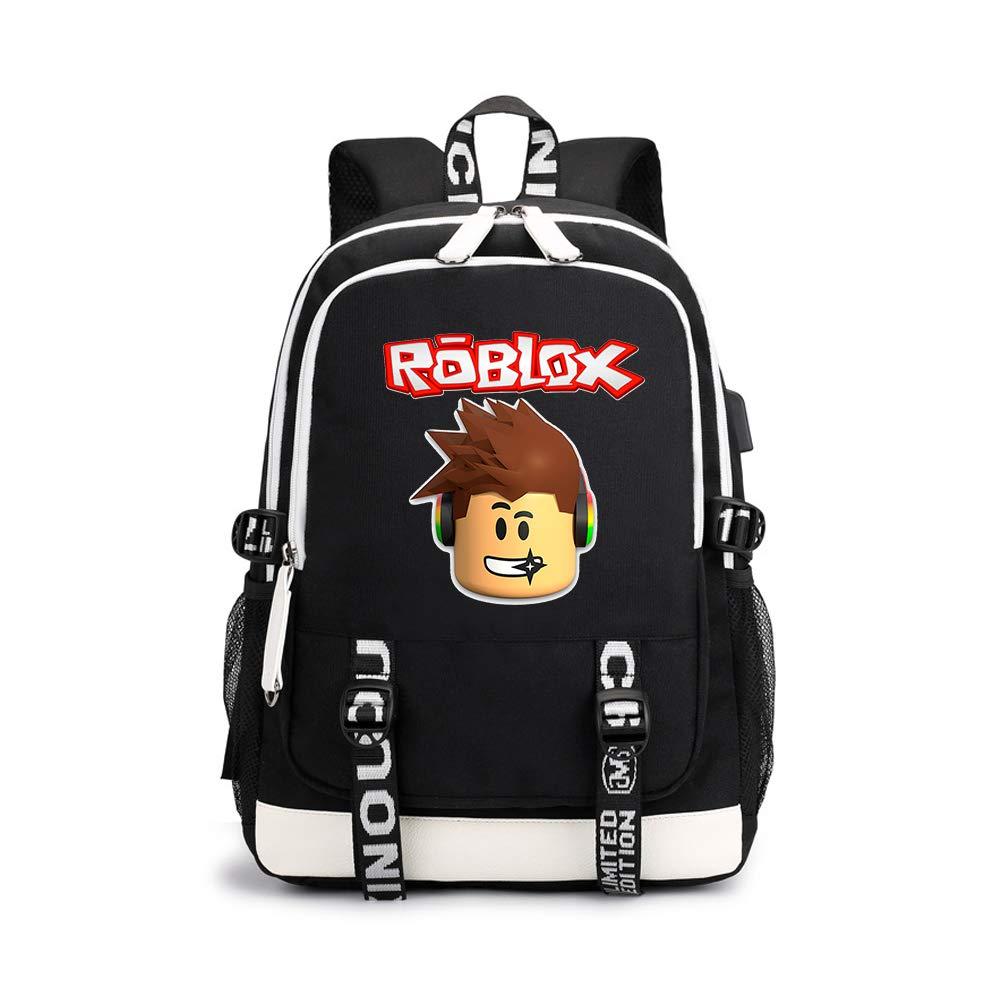Unisex Roblox Mochila Casual Mochila para Ordenador Portátil con USB Puerto de Carga Mochila de Lona Portátil para Mujeres y Hombres