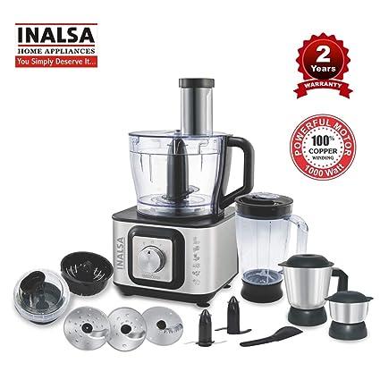 Inalsa Food Processor INOX 1000-Watt With Blender Jar / 304 Grade SS Dry  Grinding / Chutney Jar / 7 Accessories | 2 Yr Warranty on Motor  |Centrifugal/ ...