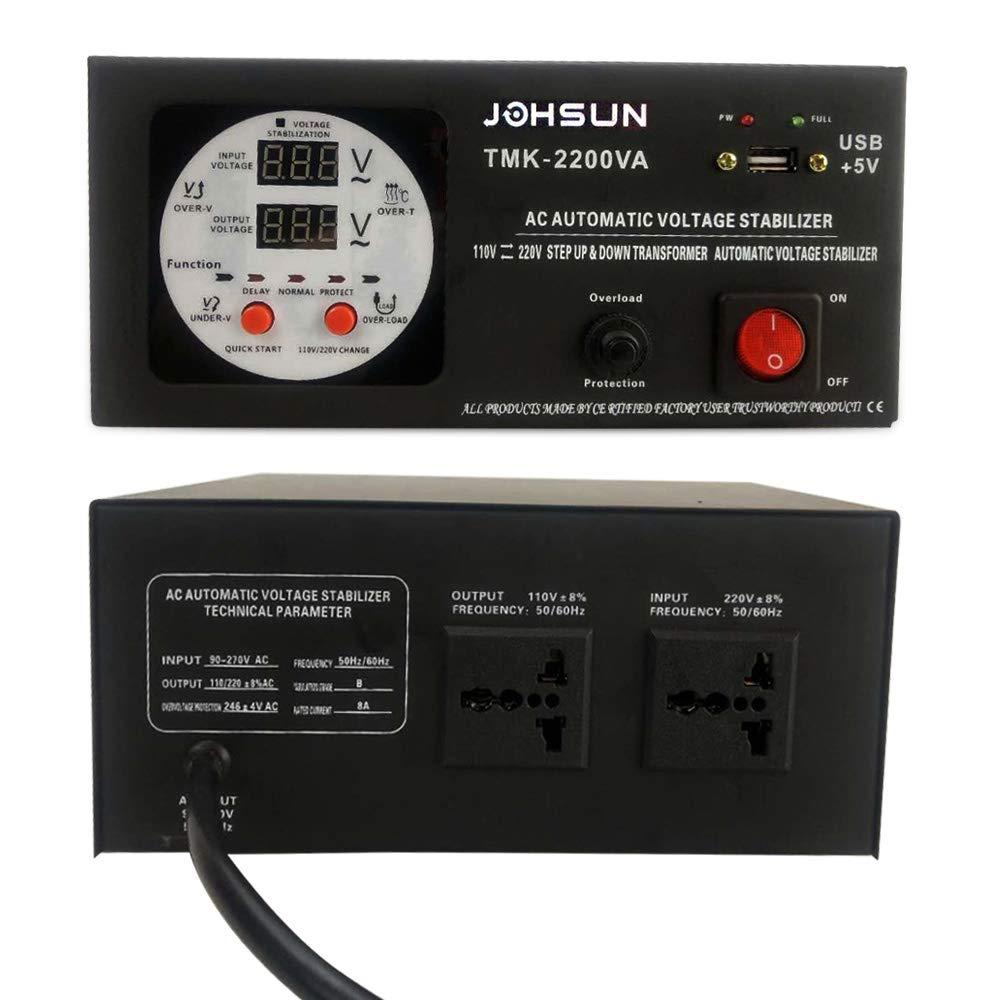 Salida 110//120 Voltios CA 220V 110V 2000W Yinleader Convertidor de Voltaje TMK-2200VA Transformador de N/úcleo Toroidal EEUU de 2000 Vatios