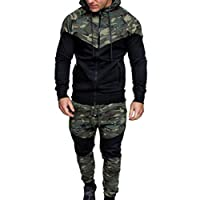 Tefamore Hommes Automne Hiver Camouflage Sweat Top Pantalon Ensembles Sport Suit Survêtement