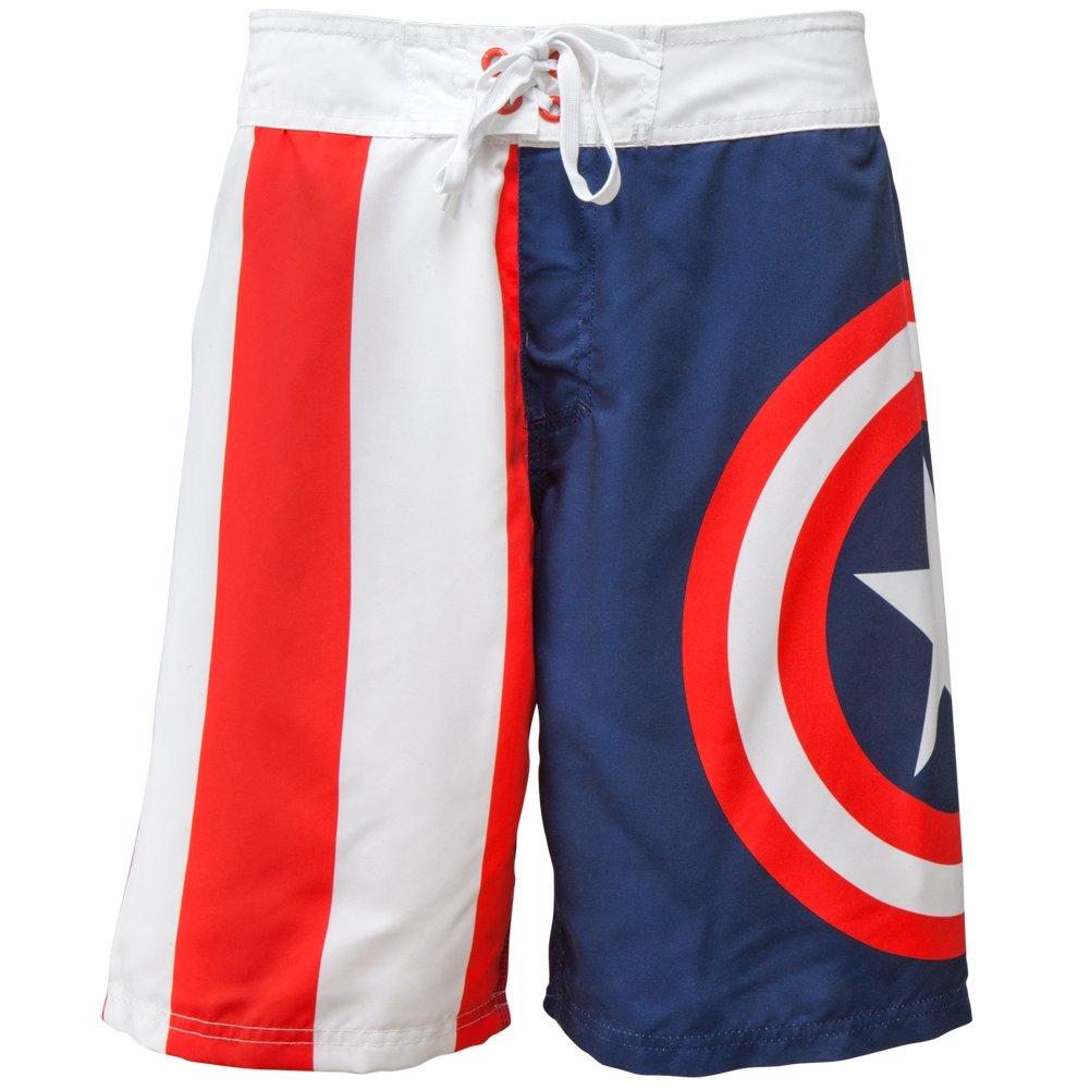 3122947719c28 Captain America - Shield Logo Board Shorts | Amazon.com