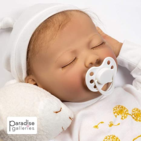 Paradise Galleries Sleeping Newborn Baby with Magnetic Pacifier, 21