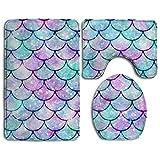 HOMESTORES Beautiful Sparkling Mermaid Scales Bath Mat Bathroom Carpet Rug Washable Non-Slip 3 Piece Bathroom Mat Set