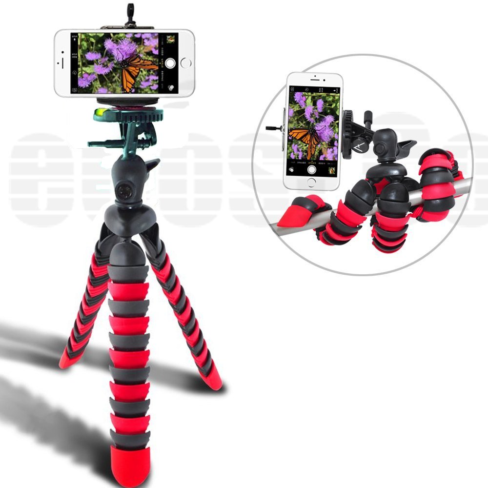 Acuvar 6.5' inch Flexible Tripod with Universal Mount for All Smartphones & an eCostConnection Microfiber Cloth ACU-7462GJO