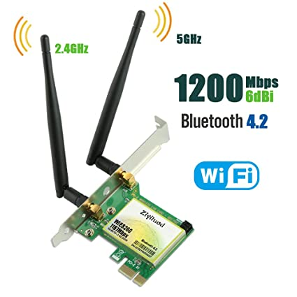 Ziyituod PCIe WiFi Card, Bluetooth 4.2 AC 1200Mbps Wireless Network Card, Wi-Fi Card Dual Band 2.4GHz 300Mbps or 5GHz 867Mbps, Support Windows ...
