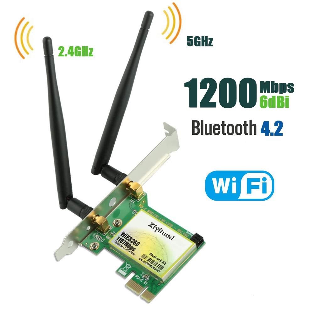 Tarjeta Wifi Ziyituod Pcie, Tarjeta De Red Inalambrica Bluetooth 4.2 Ac 1200mbps, Tarjeta Wi-fi De Banda Dual 2.4ghz 300