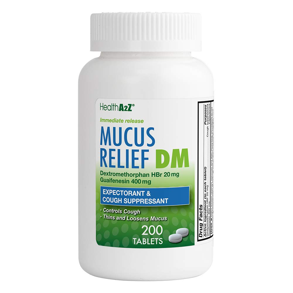 Health A2Z Mucus Releif, Dextromethorphan HBr 20mg Guaifenesin 400mg, 200  Count