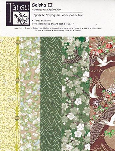 Japanese Chiyogami Papers - Geisha II - The Bamboo Path Before (Kimono Ensemble)