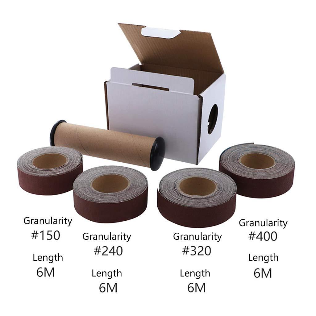 BIlinli 6 m/ètres 150-400 Grains de Papier /émeri Grit polissant Le Papier de Verre pour Le meulage des Outils Le Travail du Bois Le Travail du Bois