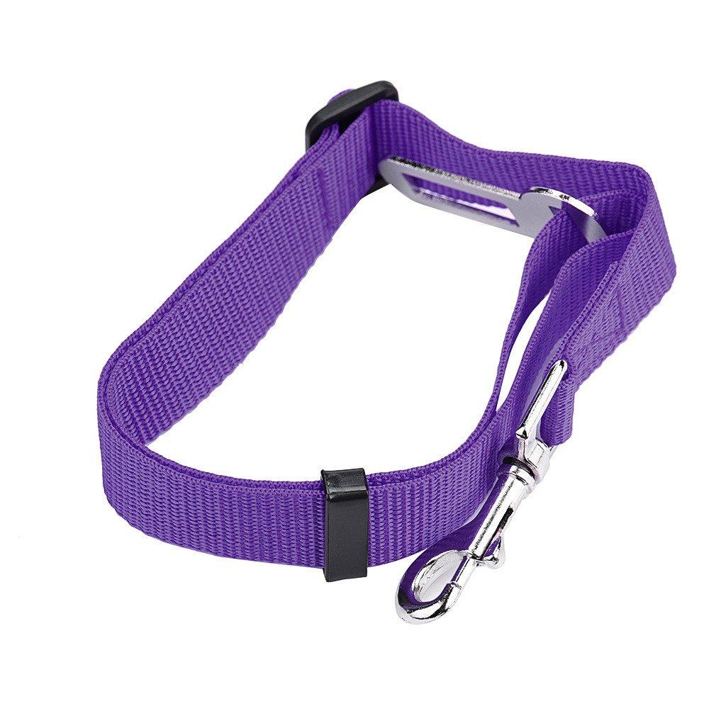 Barlingrock Vehicle Car Seat Belt, Lead Clip Adjustable Pet Cat Dog Safety Seatbelt - Easy to Use (Purple)