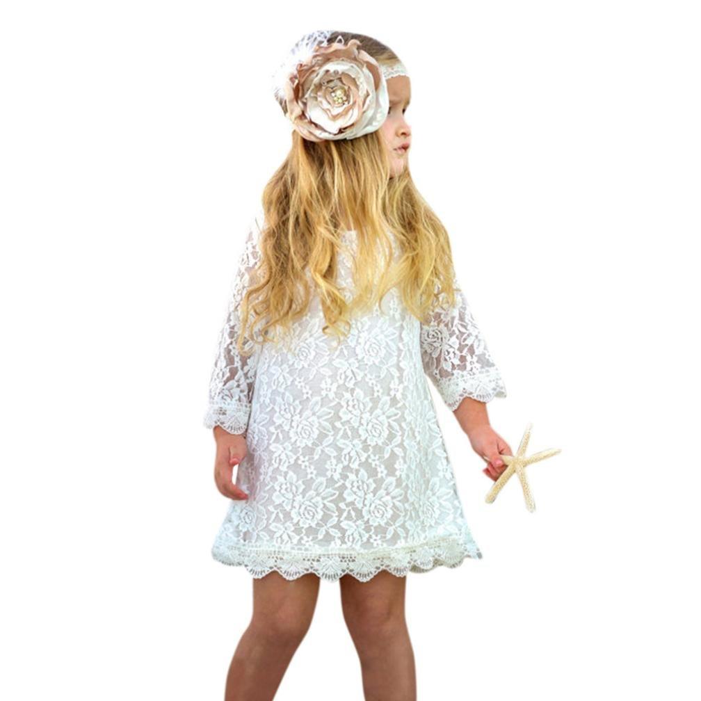 Oyedens Mode Enfants Filles Vetement Bebe Fille Ete Printemps Chic Robe de princesse en dentelle /à manches longues pour enfants Tutu Robes Fille C/ér/émonie Soir/ée Robe B/éb/é Fille