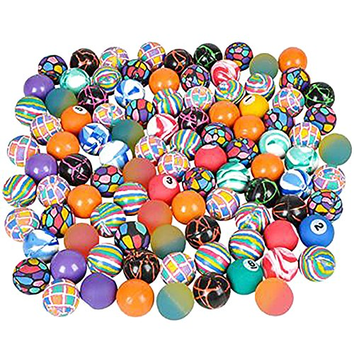 SNInc. Bouncy Ball Assortment Bulk Pack Of 100 Super Balls In Bright Colors And Mixed -