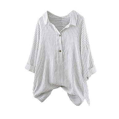 LEvifun Chemise Femme Chic Tee Shirt Bouton Grande Taille Lâche Coton et  Lin Boutons Rayé Vintage 670974dfcea