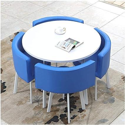 Tavoli E Sedie Rotondi Creativi Semplice E Moderno Ristorante Bar Cucina Soggiorno Area Relax Biblioteca 90 Cm Negozio Di Abbigliamento In Pelle Pu Negozio Di Dolci Multicolore Color Blue