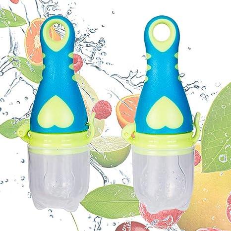 Bebé botella de alimentación vegetal de la fruta recién ...
