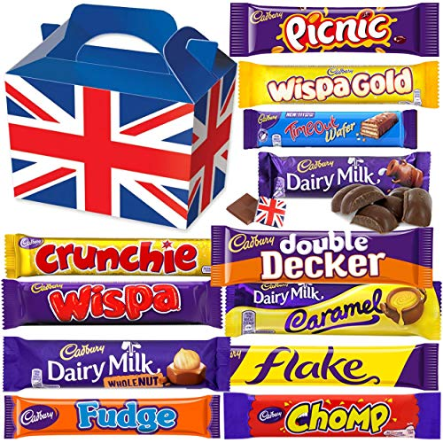 Cadbury Chocolate Gift Pack Large - 12 FULL SIZE Chocolate bars of delicious Cadbury Chocolate from the UK with unique Gift Box and a free British Chocolate.