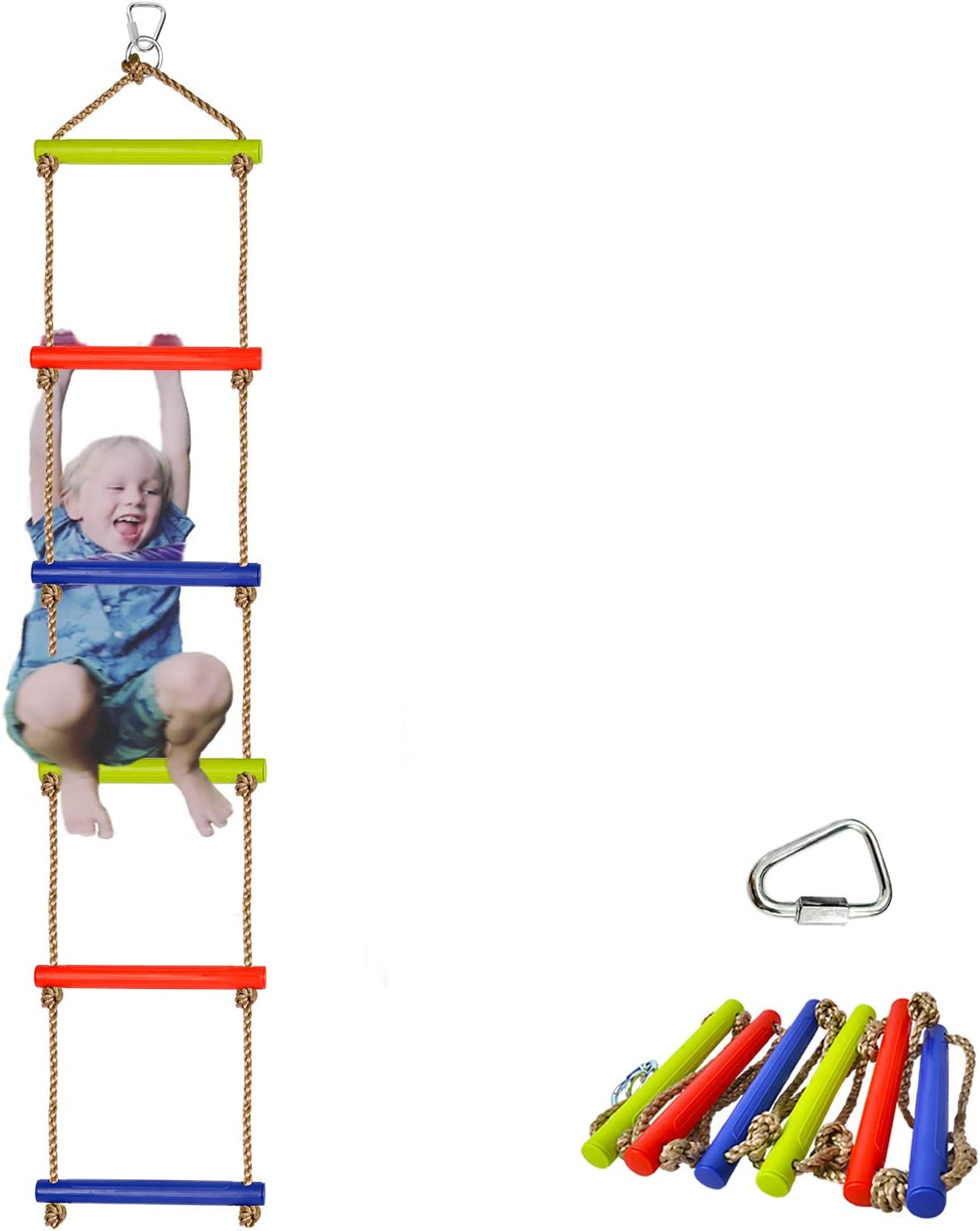 Winslow&Ross Ninja Warrior Climbing Rope Ladder for Kids - High Duty Kid Obstacle Course Slackline Accessories Backyard Playground - Ninja Lines Ladder, Ninja Swing Rope Ladders with 6 Bars