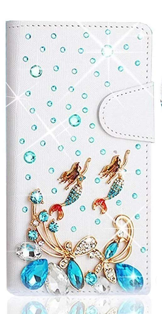 STENES Galaxy Note 9 Case - Stylish - 3D Handmade Bling Crystal Butterfly Mermaid Magnetic Wallet Credit Card Slots Fold Stand Leather Cover for Samsung Galaxy Note 9 - Light Blue