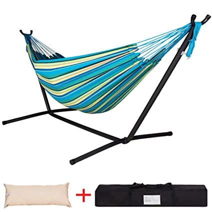 Lazy Daze Hammocks Double Hammock With Space Saving Steel Stand Includes Portable Carrying Case And Head