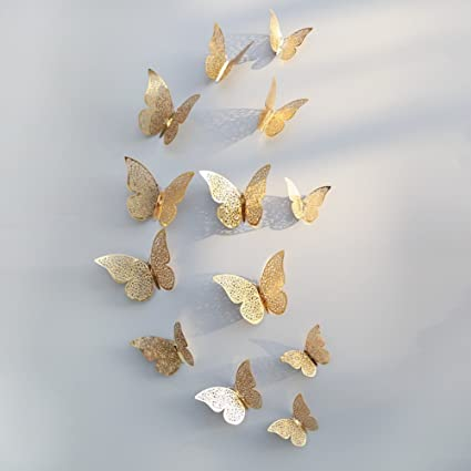 Amazon Com Ochine 12 Pcs 3d Butterfly Pvc Wall Stickers Diy Home