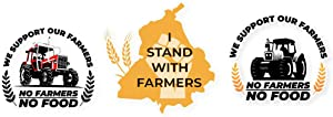 Pack of 3 no Farmers no Food Sticker of Approx. 7