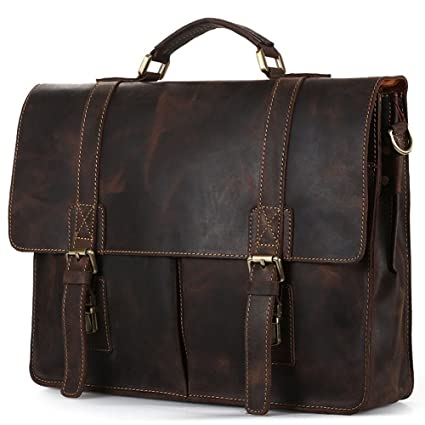 afcc85e14bfe Amazon.com: Amyannie Laptop Messenger Bag Men Dark Brown Leather ...