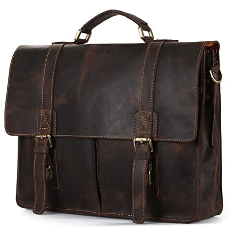 Image Unavailable. Image not available for. Color  Amyannie Laptop  Messenger Bag Men Dark Brown Leather Business Briefcase 14-inch ... 754578263c