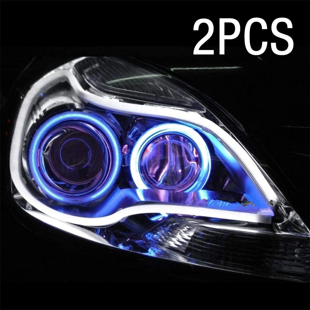 WarmCare 2pcs LED Strip Tube 24 Inches Car Flexible Daytime Running Lights DRL Switchback Headlight Decorative Lamp and Flowing Turn Signal Light Car Angel Eye Neon Lights
